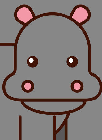 portrait of a hippo african animal vector illustration