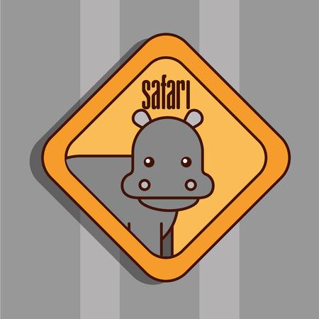 safari hippo animal zone sign vector illustration Illustration