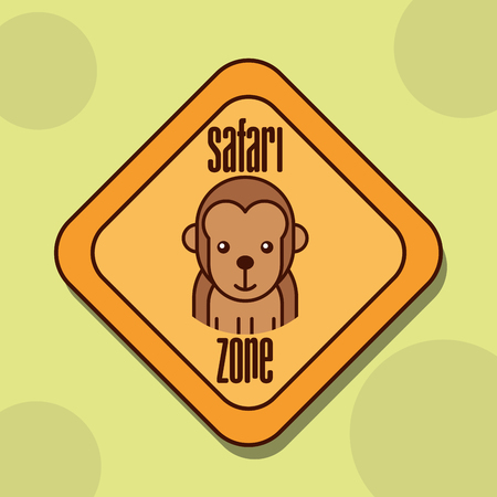 safari monkey animal zone sign vector illustration