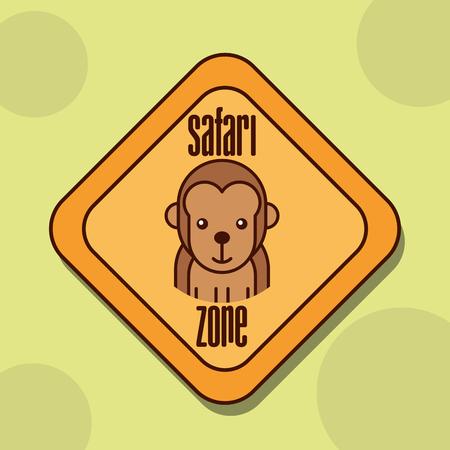 safari monkey animal zone sign vector illustration