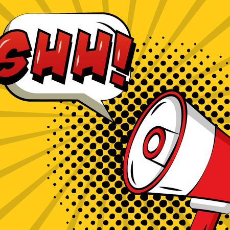 pop art comic megaphone annunce ahh speech bubble vector illustration Illustration