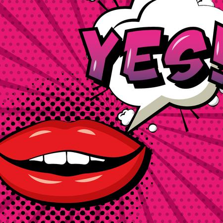 pop art comic woman lips yes speech bubble vector illustration