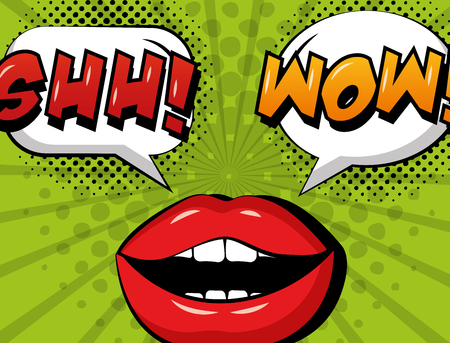 pop art comic woman lips shh and wow speech bubble retro style vector illustration