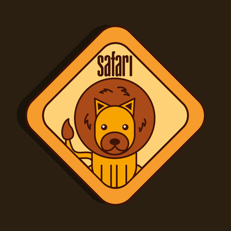 safari lion animal zone sign vector illustration
