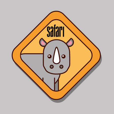 safari rhino animal zone sign vector illustration