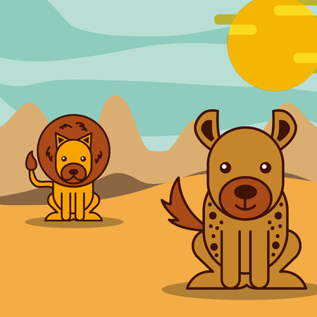 lion and jackal in desert safari animals cartoon vector illustration Ilustrace
