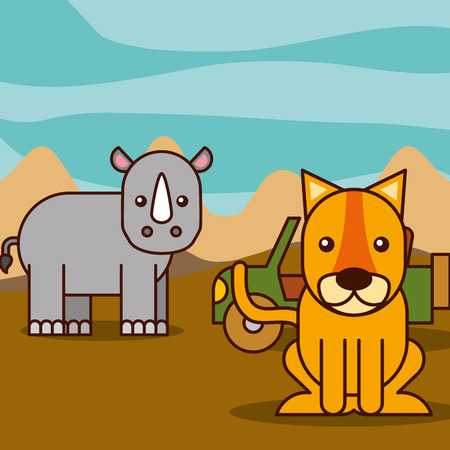 rhino and tiger jeep car safari animals cartoon vector illustration Illustration
