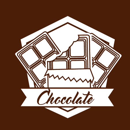 chocolate bars wrap sweet emblem vector illustration Illustration