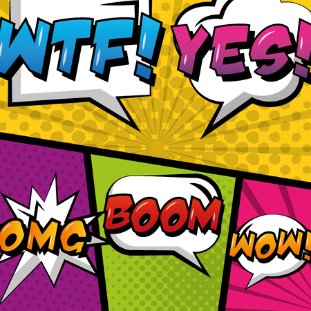pop art comic empty speech bubble set on colored background vector illustration