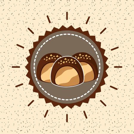 Caramelos de chocolate rellenos deliciosa crema emblema ilustración vectorial