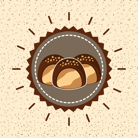 chocolate candies stuffed delicious cream emblem vector illustration Ilustração