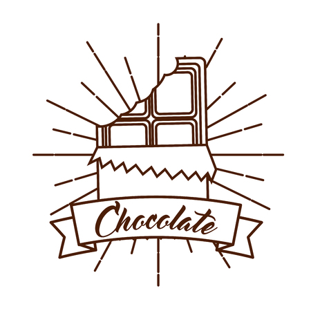 chocolate bar wrap bite vintage card vector illustration Illustration