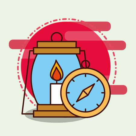 kerosene lamp and compass safari equipment supplies vector illustration