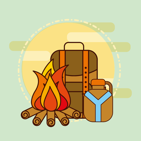 backpack water bottle and bonfire safari equipment supplies vector illustration