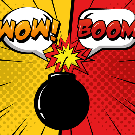 pop art comic humor bomb boom speech bubbles dots background vector illustration