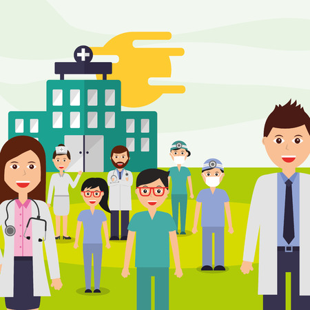 medical people group professional staff hospital vector illustration Ilustração