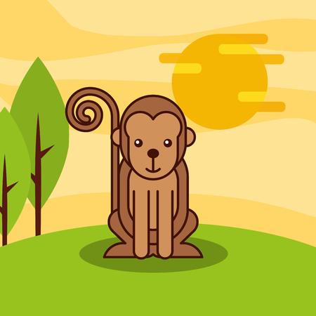 monkey primate wildlife animal african vector illustration