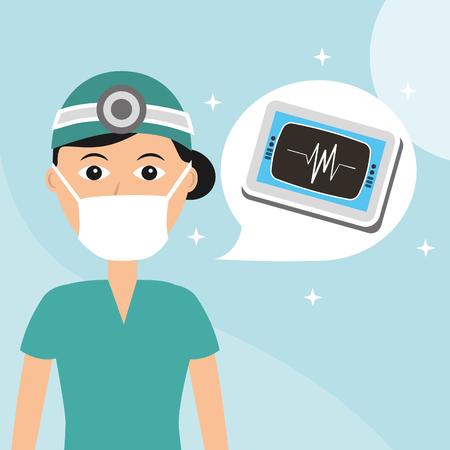 Doctor en máscara de monitorización de cardiología trabajador del hospital ilustración vectorial profesional