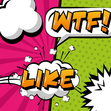 pop art comic message wtf and like cloud explosion effects vector illustration Illustration