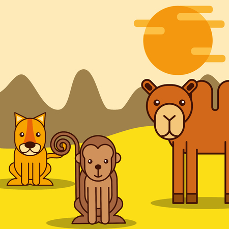 camel tiger and monkey safari animals cartoon vector illustration