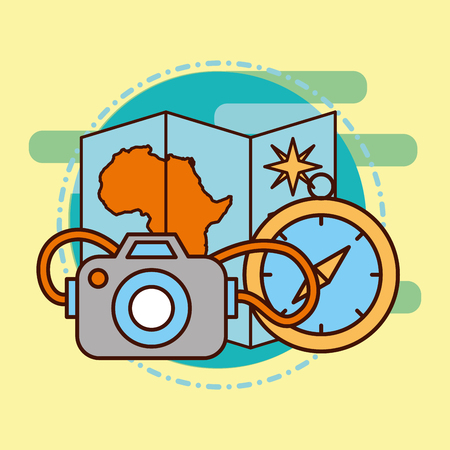 african map compass and photo camera safari equipment supplies vector illustration Illusztráció