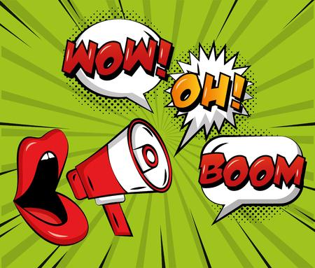 pop art comic woman lips megaphone speech bubbles wow oh and boom vector illustration