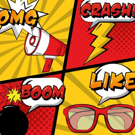 pop art comic set megaphone glasses bomb and thunderbolt vector illustration
