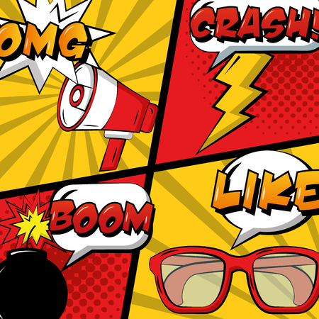 pop art comic set megaphone glasses bomb and thunderbolt vector illustration 版權商用圖片 - 100961370
