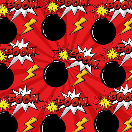 pop art comic pattern bomb boom explosion background vector illustration