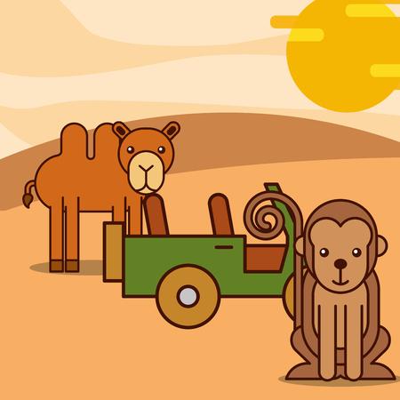 camel and monkey jeep car safari animals cartoon vector illustration