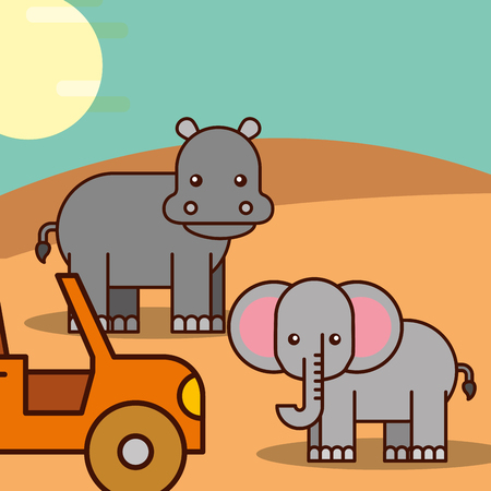 elephant and hippo jeep car safari animals cartoon vector illustration