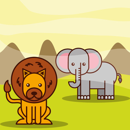 elephant and lion safari animals cartoon vector illustration