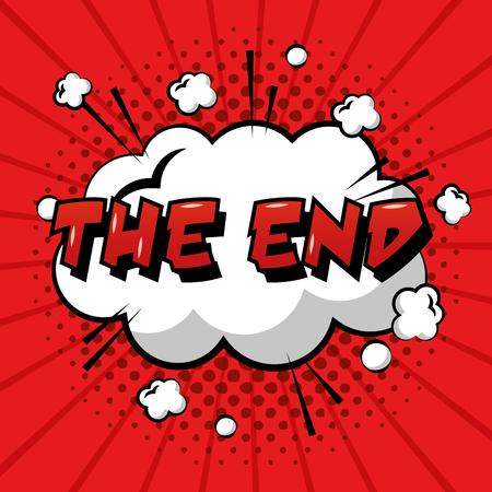 El final de la burbuja del discurso del arte pop cómico fondo rojo ilustración vectorial Ilustración de vector