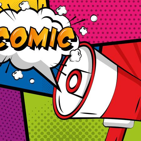 pop art megaphone speech bubble comic colored background vector illustration
