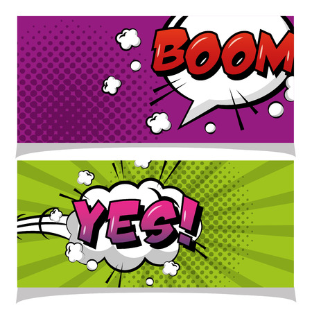 speech bubble boom and yes banners pop art comic book vector illustration