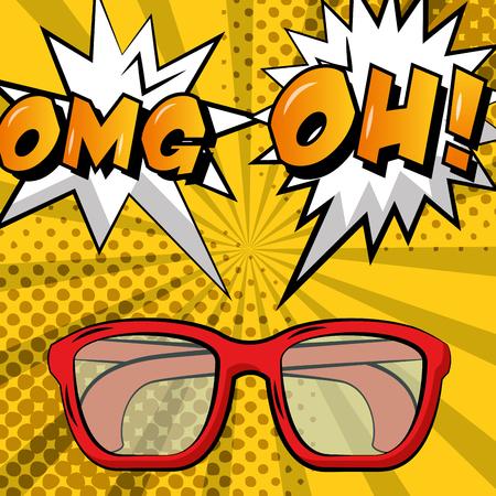 comic retro glasses omg oh explosion pop art background vector illustration Illustration