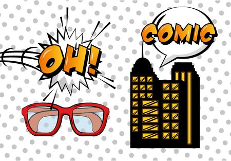 pop art comic building glasses oh speech bubble white dots background vector illustration Illustration