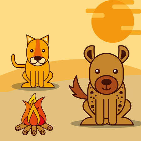 tiger and jackal near a bonfire safari animals cartoon vector illustration Standard-Bild - 100961376