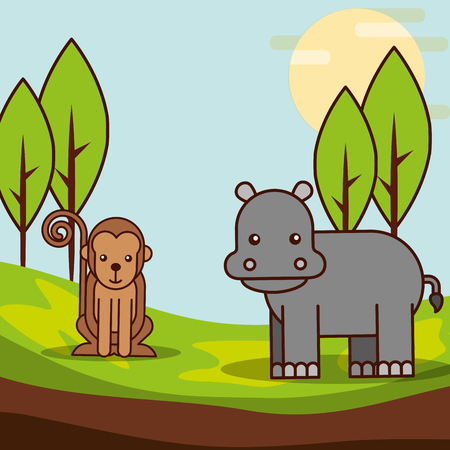 monkey and hippo in jungle safari animals cartoon vector illustration Illustration