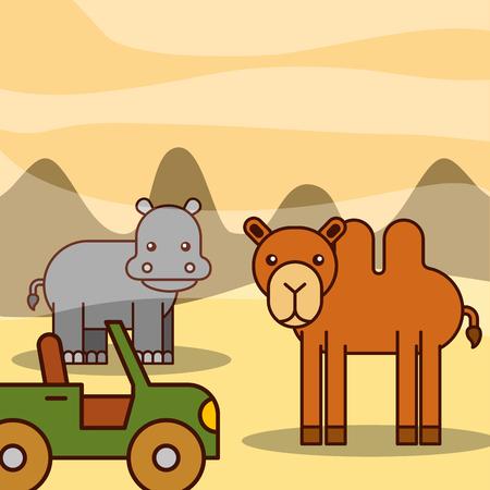 camel and hippo jeep car safari animals cartoon vector illustration Illustration