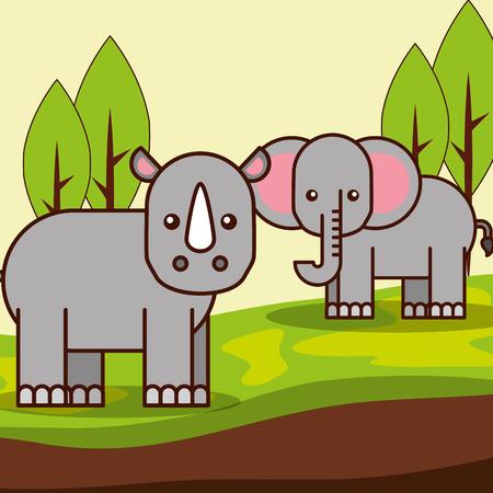 rhino and elephant safari animals cartoon vector illustration