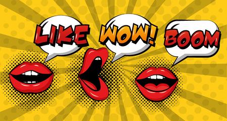 pop art comic woman lips speech bubbles set vector illustration