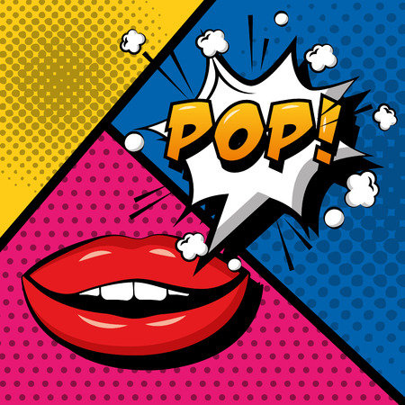 pop art comic sensual lips pop speech bubble vector illustration