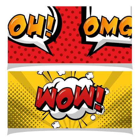 omg wow oh phrases banners pop art comic vector illustration Illustration