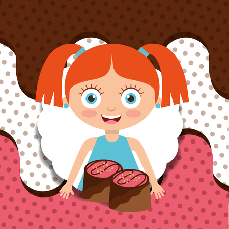 cute girl with chocolate candy melted design vector illustration