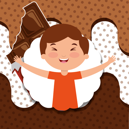 happy little boy holds chocolate bar melted design vector illustration