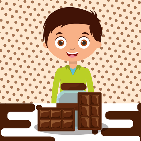boy with chocolate glass jar bar dessert melted vector illustration Stock Vector - 100958103
