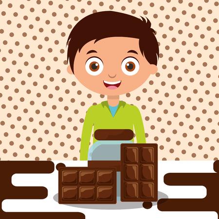 boy with chocolate glass jar bar dessert melted vector illustration