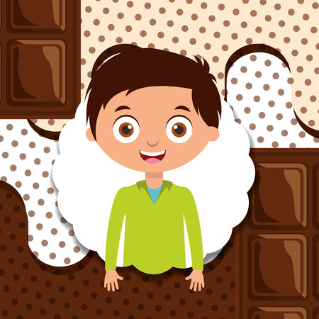 happy little boy with bar chocolate melted design vector illustration