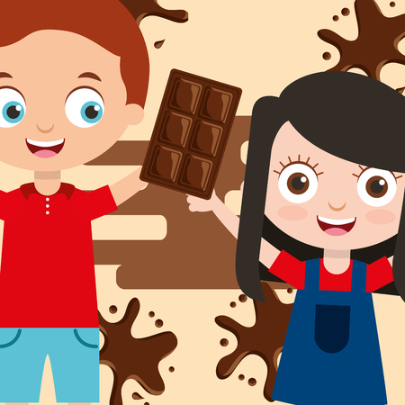 kids with sweet chocolate bar splash image vector illustration